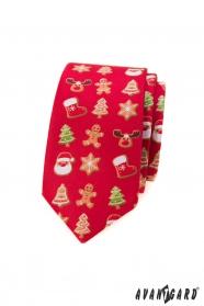 Rote schmale Krawatte mit Weihnachtsmotiv