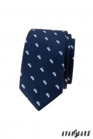 Blaue schmale Krawatte mit weißem Automotiv