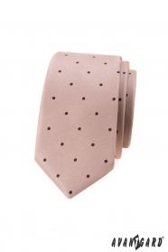 Beige schmale Krawatte mit kleinen schwarzen Tupfen