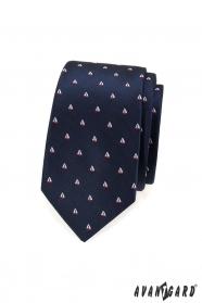 Blaue, schmale Krawatte mit Segelbootmuster