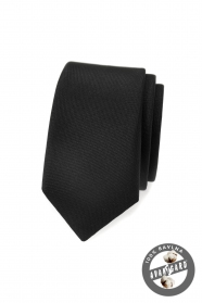 Schwarze, matte, schlanke Krawatte