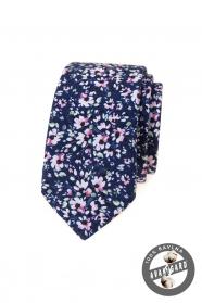 Dunkelblaue schmale Krawatte mit rosa Blumen
