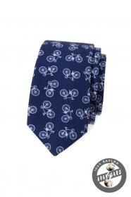 Blaue schmale Krawatte aus Baumwolle mit Fahrradmotiv