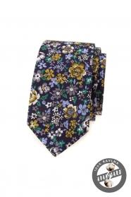 Dunkelviolette schmale Krawatte mit bunten Blumen