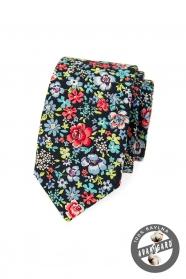 Blaue SLIM Krawatte mit bunten Blumen