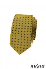 Dunkelgelbe, schmale Krawatte mit blauem Muster