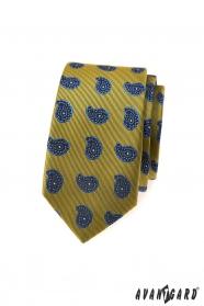 Grünlich schmale Krawatte, Paisley-Muster