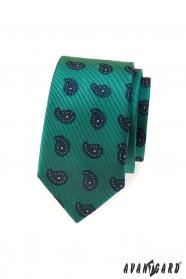 Schmale grüne Krawatte blaues Paisleymuster