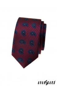 Schmale, weinrote Krawatte mit kleinem Paisley-Muster