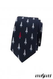Blaue, schmale Krawatte mit Raketenmuster