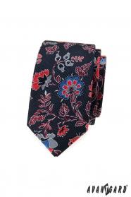 Schmale Herren Krawatte mit bunten Blumen