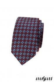 Schmale Herren Krawatte mit blaurotem Muster