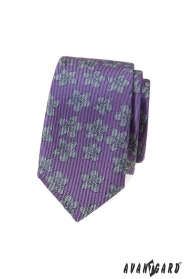 Lila schmale Krawatte mit grauem Muster