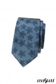 Blaue schmale Krawatte mit dunklem Blumenmuster