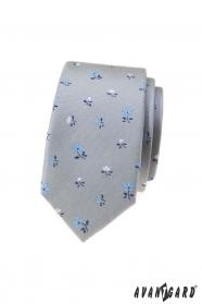 Graue schmale Krawatte mit Blumen