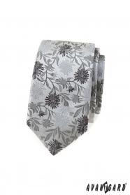 Schmale Krawatte mit grauem Muster