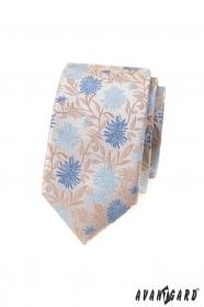 Beige schmale Krawatte mit blauen Blumen