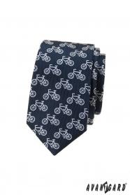 Blaue schmale Krawatte mit Fahrradmotiv