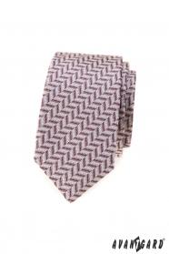 Schmale Krawatte mit puderrosa Muster