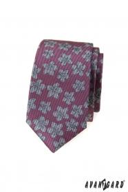 Dunkelrosa schmale Krawatte mit grauen Blumen