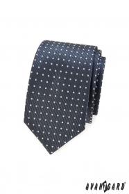 Dunkelgraue Slim-Krawatte mit hellen Punkten