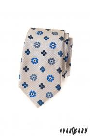 Beigefarbene schmale Krawatte mit blauem Muster
