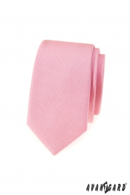 Rosa strukturierte schmale Krawatte