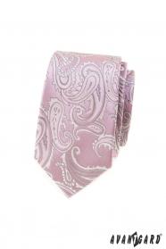 Rosa schmale Krawatte mit Paisley-Motiv