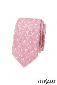 Puderrosa schmale Krawatte mit weißem Muster