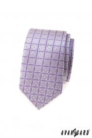 Schmale Krawatte mit lila Blüten