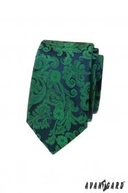 Schmale Krawatte mit grünem Muster