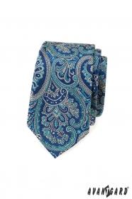 Schmale Krawatte mit blauem Paisley-Motiv