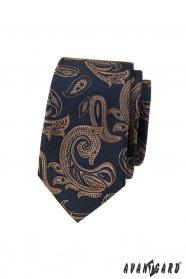 Blaue schmale Krawatte mit braunem Paisley-Motiv