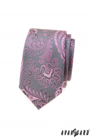 Graue schmale Krawatte mit rosa Paisley-Muster