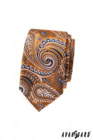 Orange schmale Krawatte mit blauem Paisley-Muster