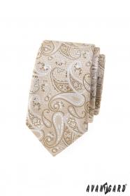 Beige schmale Krawatte mit Paisley-Muster