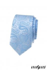 Schmale Krawatte mit hellblauem Paisley-Muster