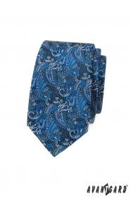 Schmale Krawatte mit blauem Paisley-Muster
