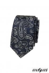 Dunkelblaue schmale Krawatte mit Paisley-Motiv