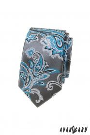 Graue schmale Krawatte mit türkisfarbenem Paisley-Motiv