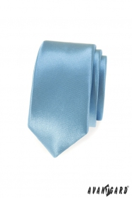 Hellblaue, glänzende, schmale Krawatte