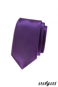Glatte violette Slim-Krawatte