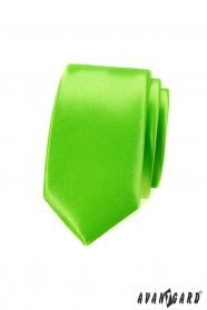 Schmale Krawatte Grün mit Glanz