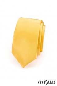Schmale Krawatte   Gelb glad