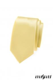 Einfarbige hellgelbe SLIM Krawatte