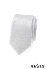 Weiße, schmale Krawatte mit Zierstreifen