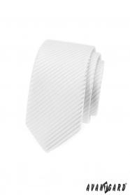 Weiße, schmale Krawatte mit glänzenden Streifen