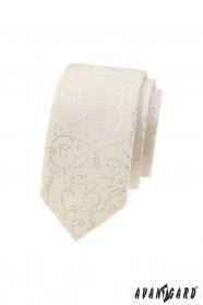 Schmale Avantgard Krawatte im Cremeton