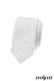 Weiße schmale Krawatte mit silbernen Ornamenten