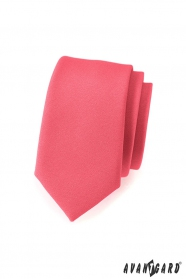 Schmale Krawatte in Korallenfarbe